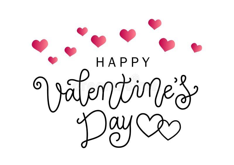Lettrage moderne de calligraphie de jour de valentines heureux dans le noir sur le fond blanc décoré des coeurs roses illustration de vecteur