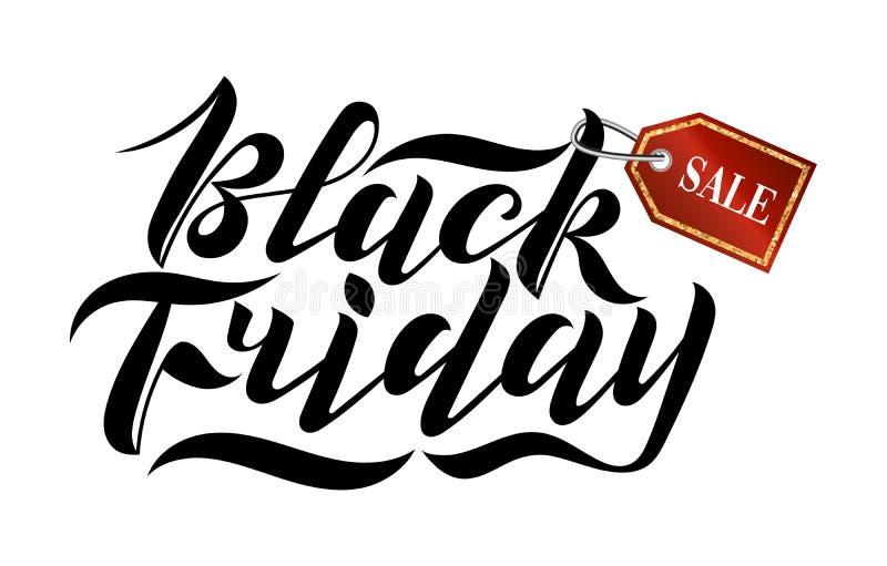 Lettrage moderne manuscrit de brosse en vente de Black Friday avec une étiquette rouge sur le fond blanc Logo frais pour la banni illustration stock