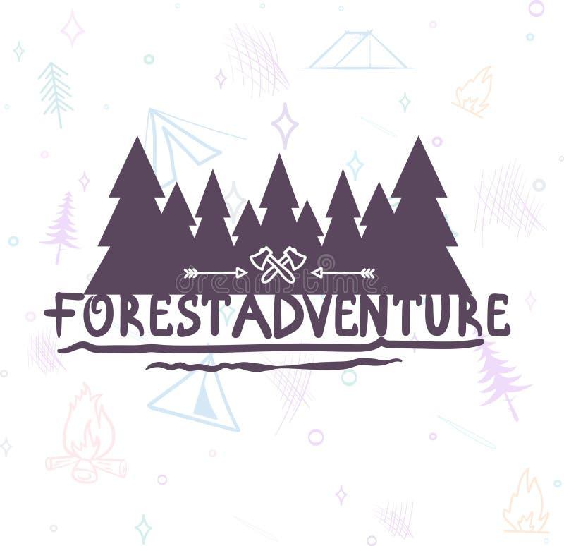 Lettrage moderne tiré par la main de brosse de fond de forêt d'aventure illustration stock