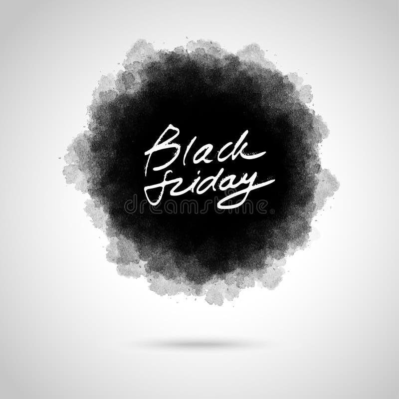 Lettrage noir de vendredi sur le fond artistique abstrait illustration de vecteur