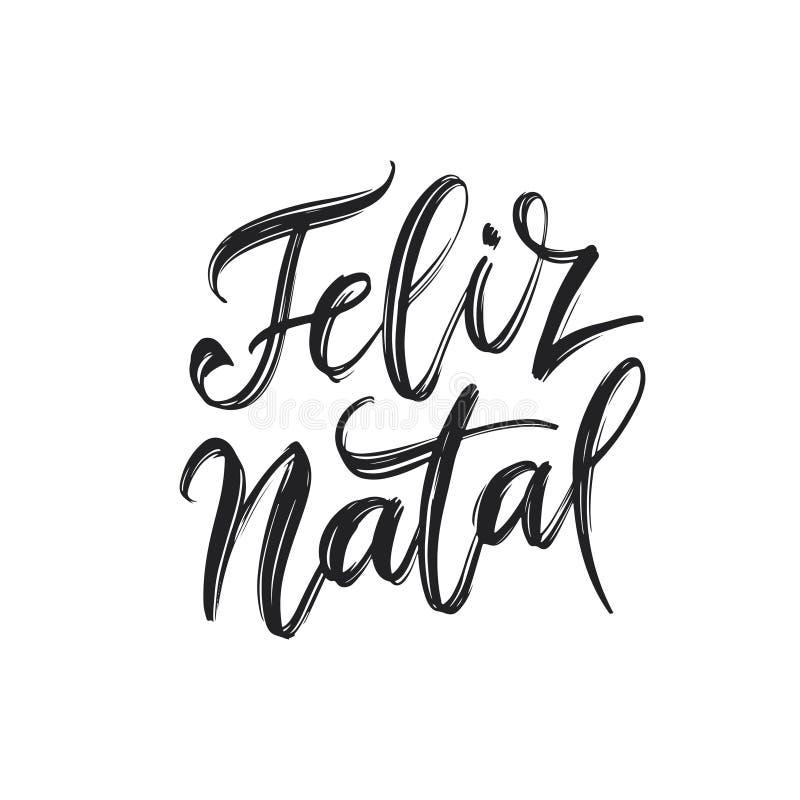 Lettrage portugais de Joyeux Noël de Feliz Natal Illustration de vecteur illustration libre de droits