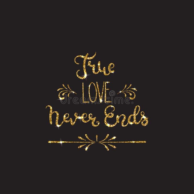Lettrage romantique avec le scintillement Étincelles d'or illustration libre de droits