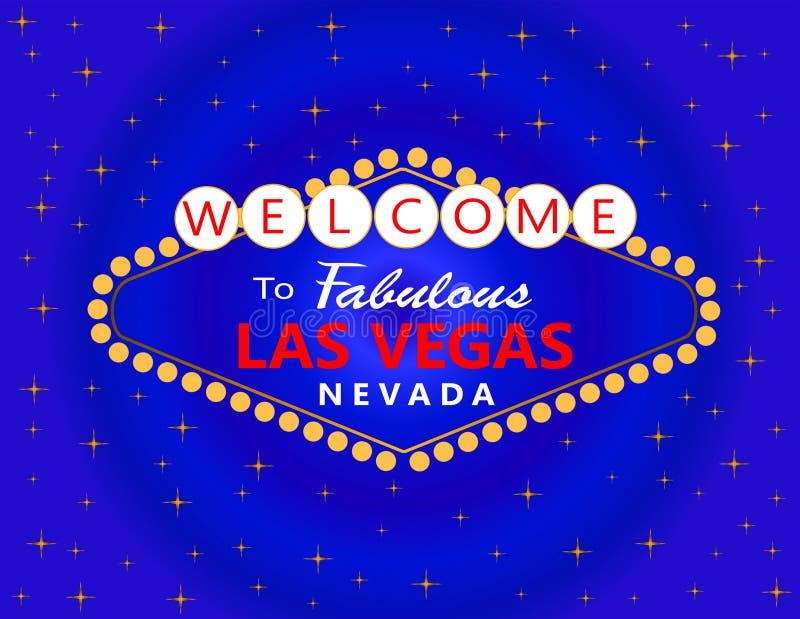 Lettrage rouge et blanc de Las Vegas avec les étoiles blanches sur le fond bleu Carte postale de voyage illustration libre de droits