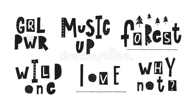 Lettrage sauvage de citation de forêt d'amour de musique de puissance de fille illustration libre de droits