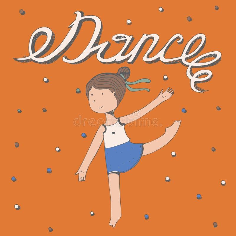 Lettrage tiré par la main avec la danse de mot avec la danse de petite fille Dirigez l'illustration carrée, coloré, aimable, mign illustration stock
