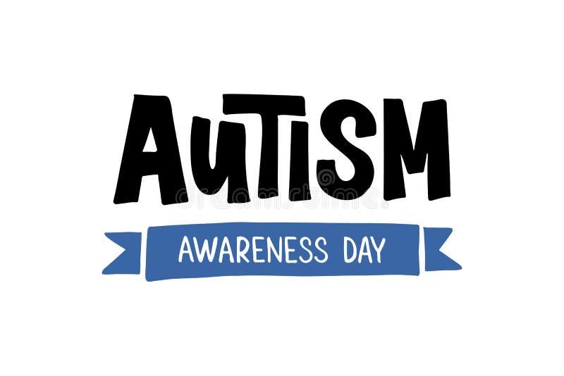 Lettrage tiré par la main d'autisme illustration de vecteur
