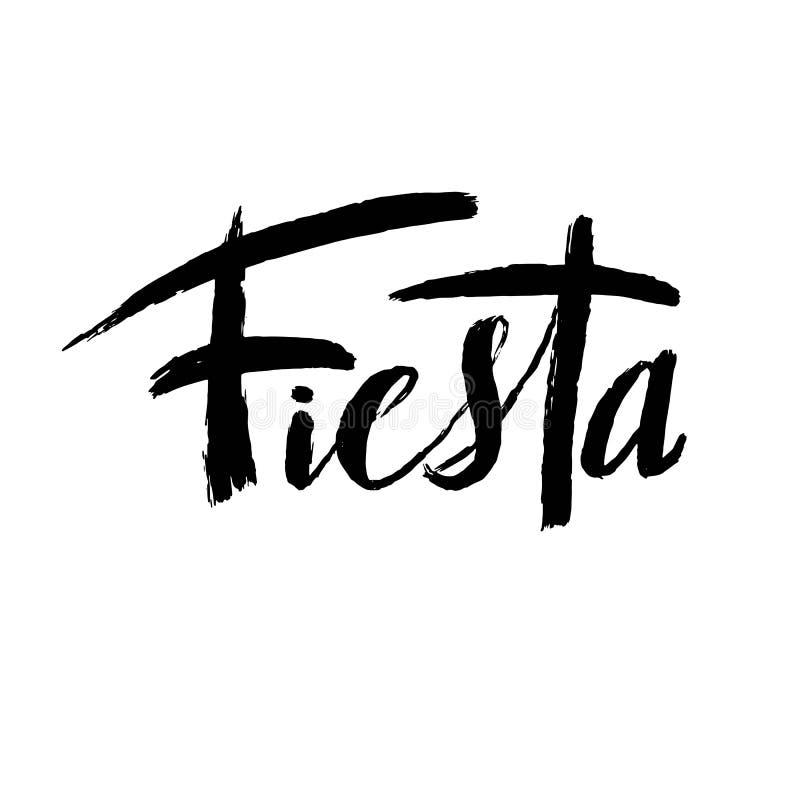 Lettrage tiré par la main de Cinco de Mayo Fiesta avec des éléments de décoration dans le style grunge Vacances mexicaines, parti illustration libre de droits