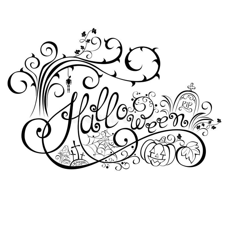 Lettrage tiré par la main de Halloween de vecteur illustration stock