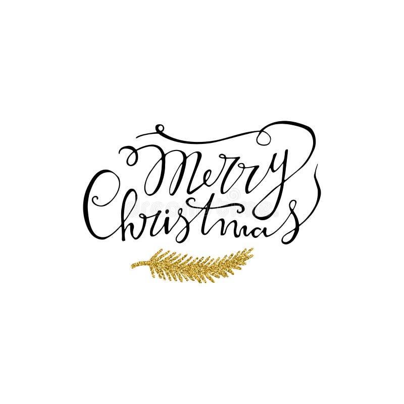 Lettrage tiré par la main de Joyeux Noël avec la branche de scintillement d'or Lettrage moderne manuscrit de brosse Perfectionnez illustration stock