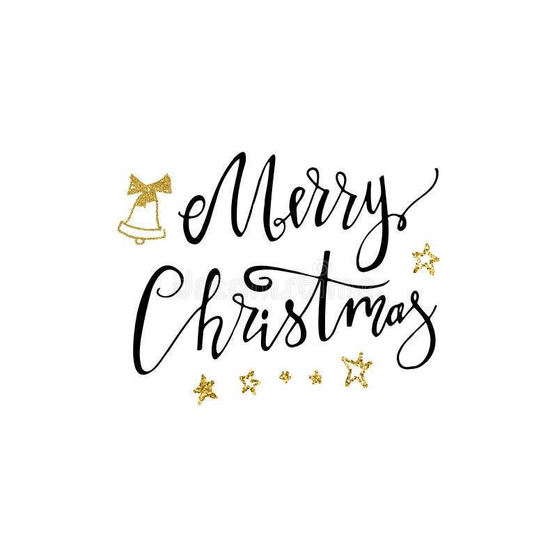 Lettrage tiré par la main de Joyeux Noël avec la cloche et les étoiles de scintillement d'or Lettrage moderne manuscrit de brosse illustration stock