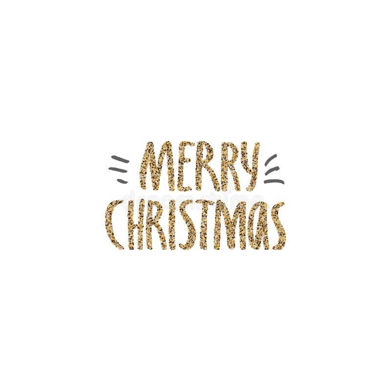 Lettrage tiré par la main de Joyeux Noël avec la texture de scintillement d'or Lettrage moderne manuscrit de brosse Perfectionnez illustration de vecteur