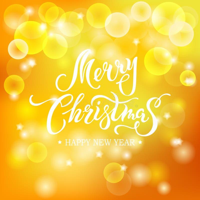Lettrage tiré par la main de Joyeux Noël d'isolement sur le fond jaune illustration de vecteur