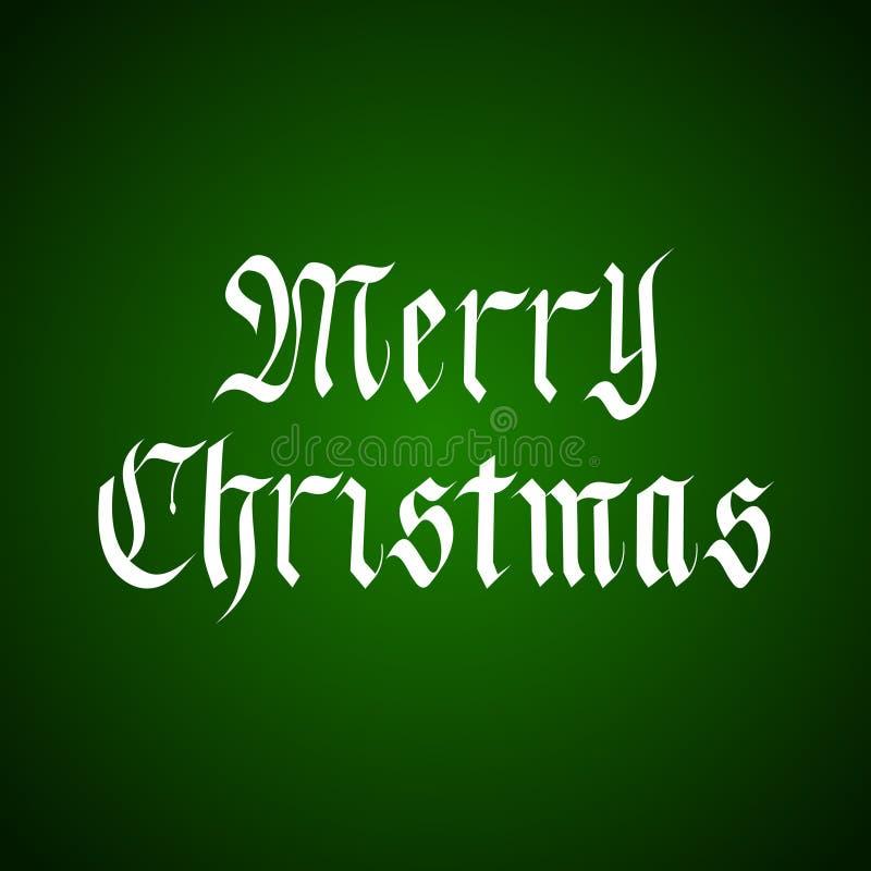 Lettrage tiré par la main de Joyeux Noël de vecteur dans le style gothique au-dessus du vert illustration de vecteur