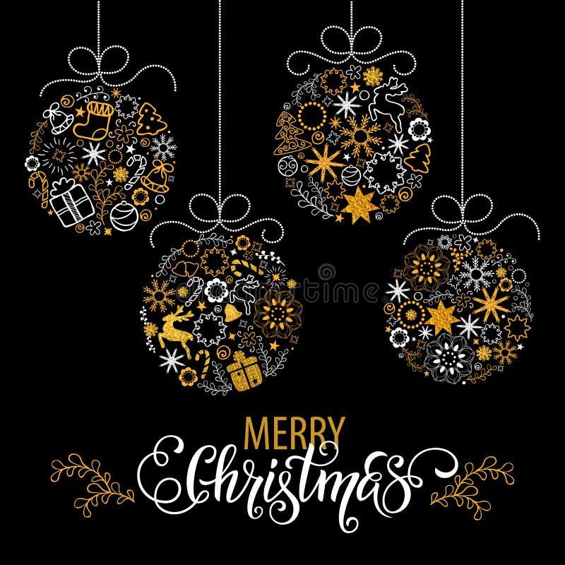 Lettrage tiré par la main de Noël Décoration d'arbre de Noël, flocons de neige, cadeaux texture d'or de scintillement Vacances d' illustration de vecteur