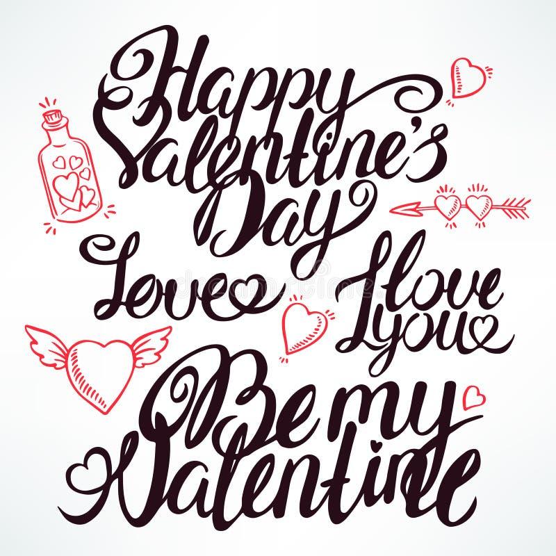 Lettrage tiré par la main de Valentine illustration de vecteur