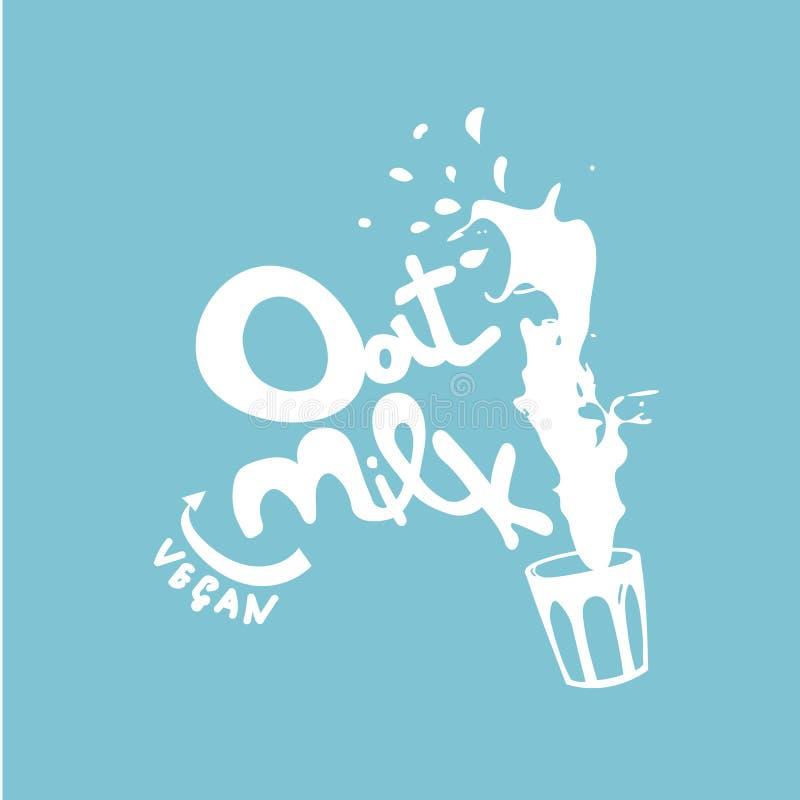 Lettrage tiré par la main de vecteur de lait d'avoine de Vegan photo stock
