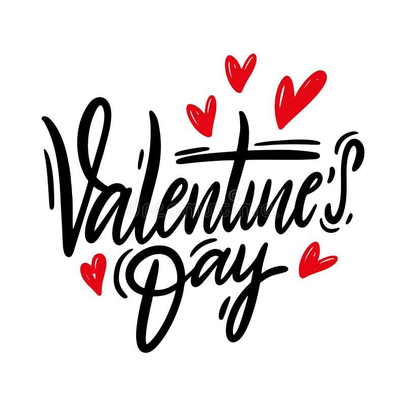 Lettrage tiré par la main de vecteur de Saint-Valentin heureuse D'isolement sur le fond blanc illustration de vecteur