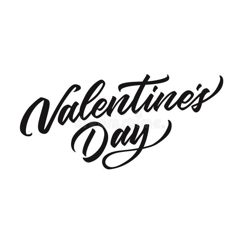 Lettrage tiré par la main heureux de jour de valentines de vecteur illustration stock