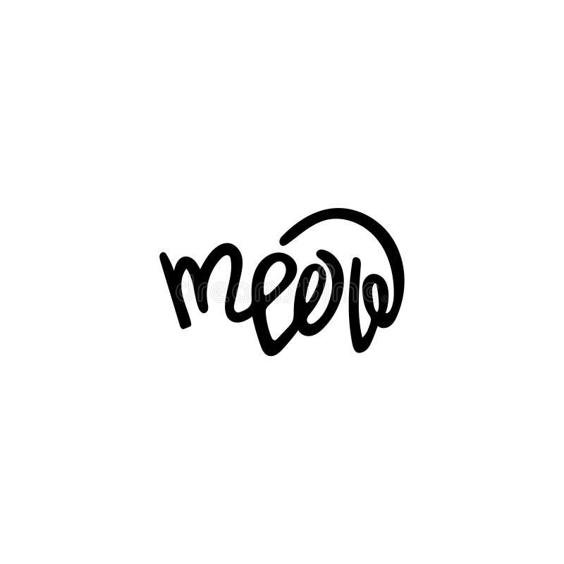 Lettrage tiré par la main unique pour la conception meow illustration de vecteur