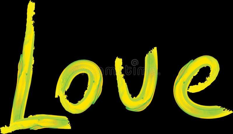 Lettrage tir? par la main de mot d'amour conception des textes jaunes S?chez le lettrage de brosse Art d'?t? image libre de droits