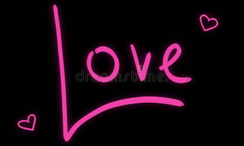 Lettrage tir? par la main de mot d'amour Conception rose des textes de lueur Art noir au néon de nuit avec deux coeurs photo stock