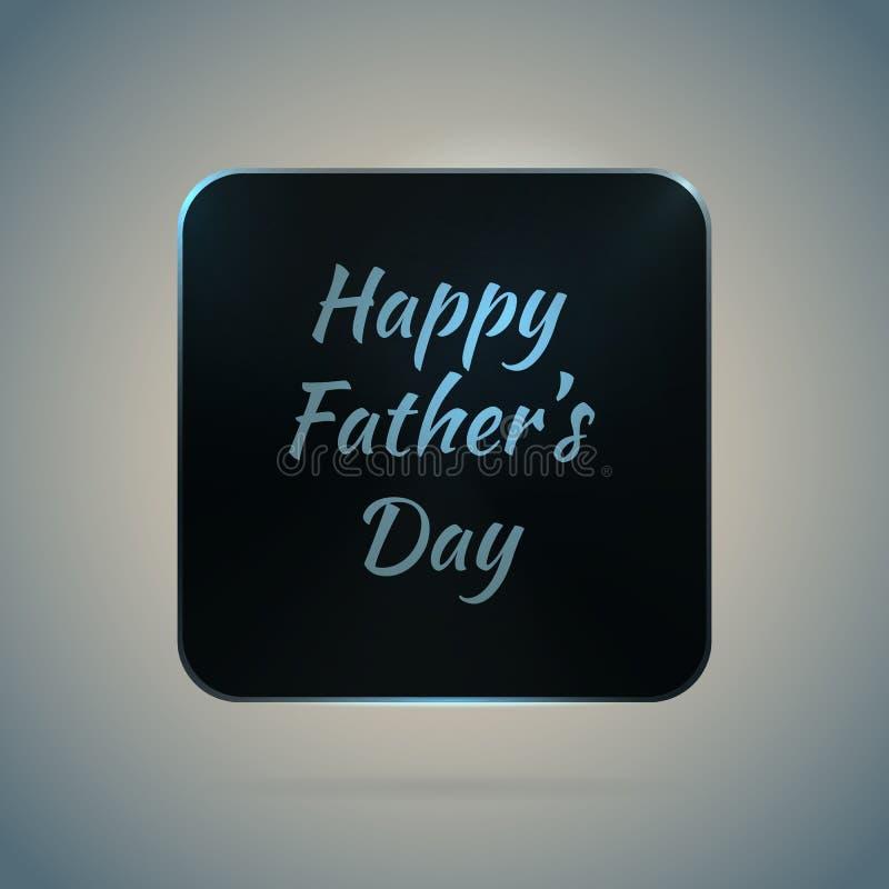 Lettrage vide noir de jour de pères d'icône en métal illustration stock