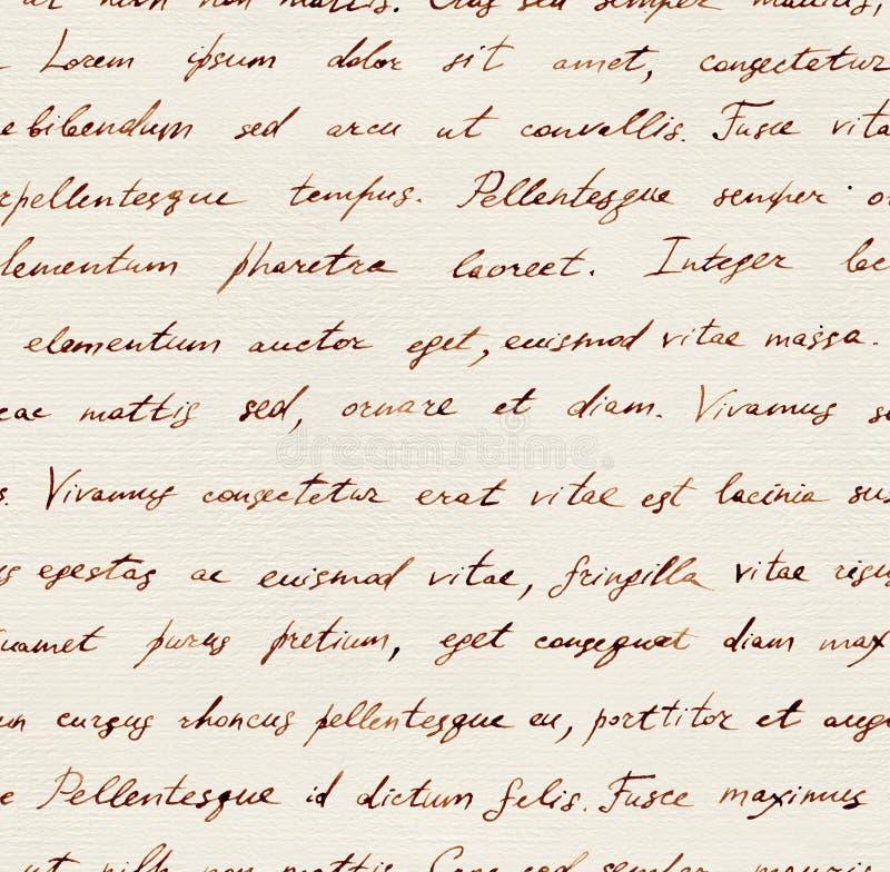 Lettre écrite par main - lorem ipsum sans couture des textes Répétition de la configuration photo libre de droits
