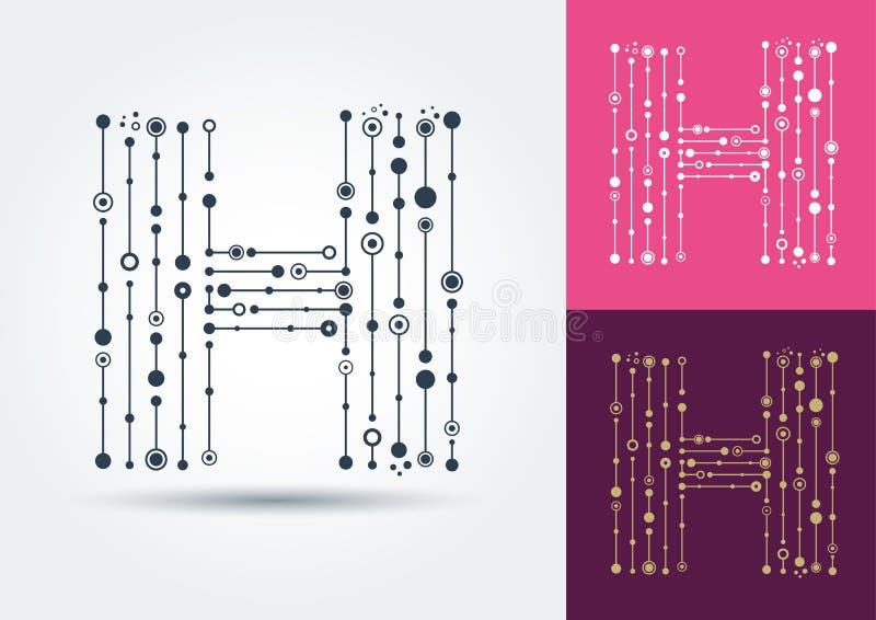 Lettre abstraite H Dirigez l'objet d'isolement sur le dos blanc et foncé illustration de vecteur