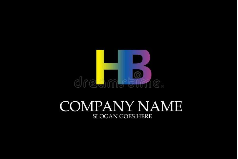 Lettre abstraite HB Logo Vector Logotype Template carré coloré illustration libre de droits