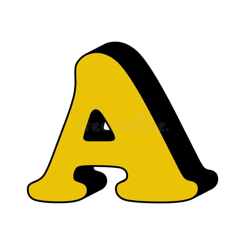 lettre A, alphabet, icône 3D Élément d'alphabet de la couleur 3D pour des applis mobiles de concept et de Web Lettre détaillée A, illustration libre de droits