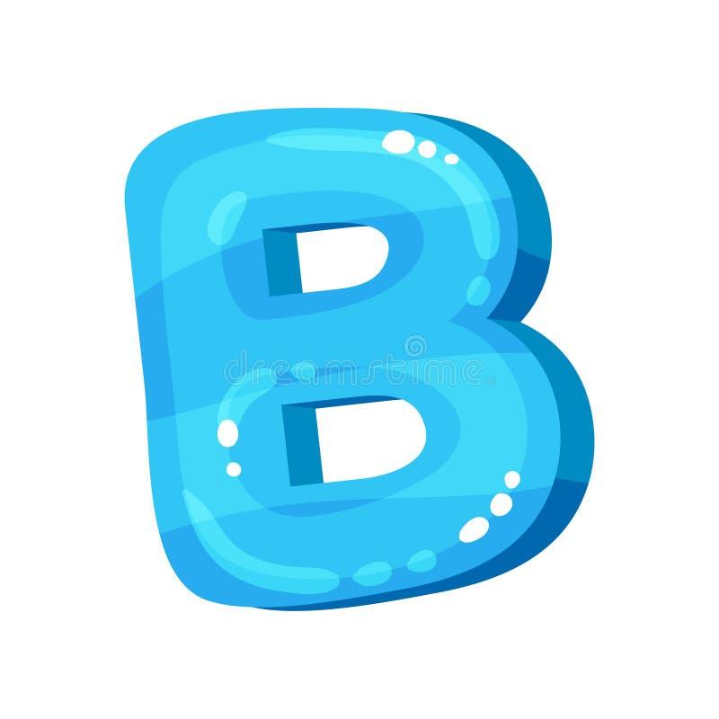 Lettre anglaise lumineuse brillante bleue de B, illustration de vecteur de police d'enfants sur un fond blanc illustration libre de droits