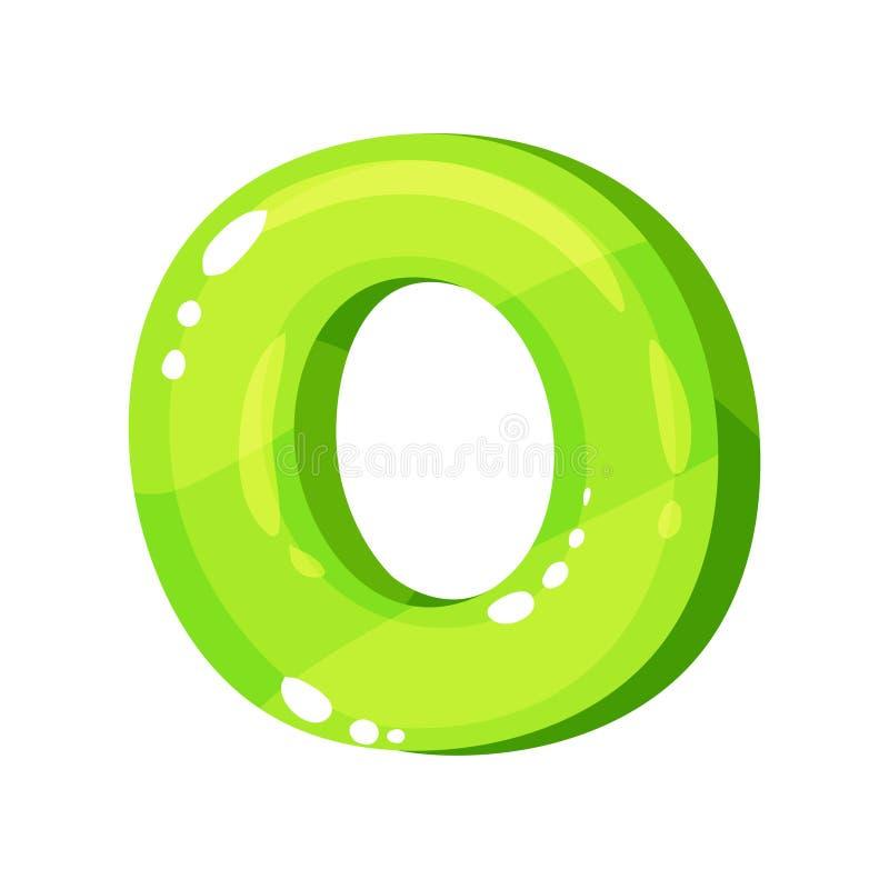 Lettre anglaise lumineuse brillante verte d'O, illustration de vecteur de police d'enfants sur un fond blanc illustration libre de droits