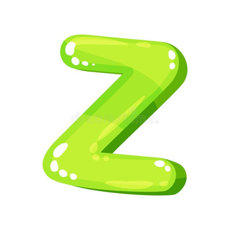 Lettre anglaise lumineuse brillante verte de Z, illustration de vecteur de police d'enfants sur un fond blanc illustration stock
