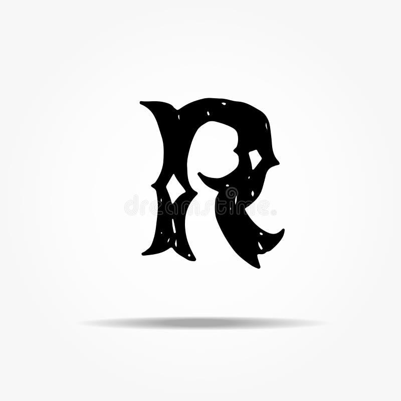Lettre antique R Lettrage grunge de vecteur occidental gothique tiré par la main de police de vintage Illustration de vecteur illustration libre de droits