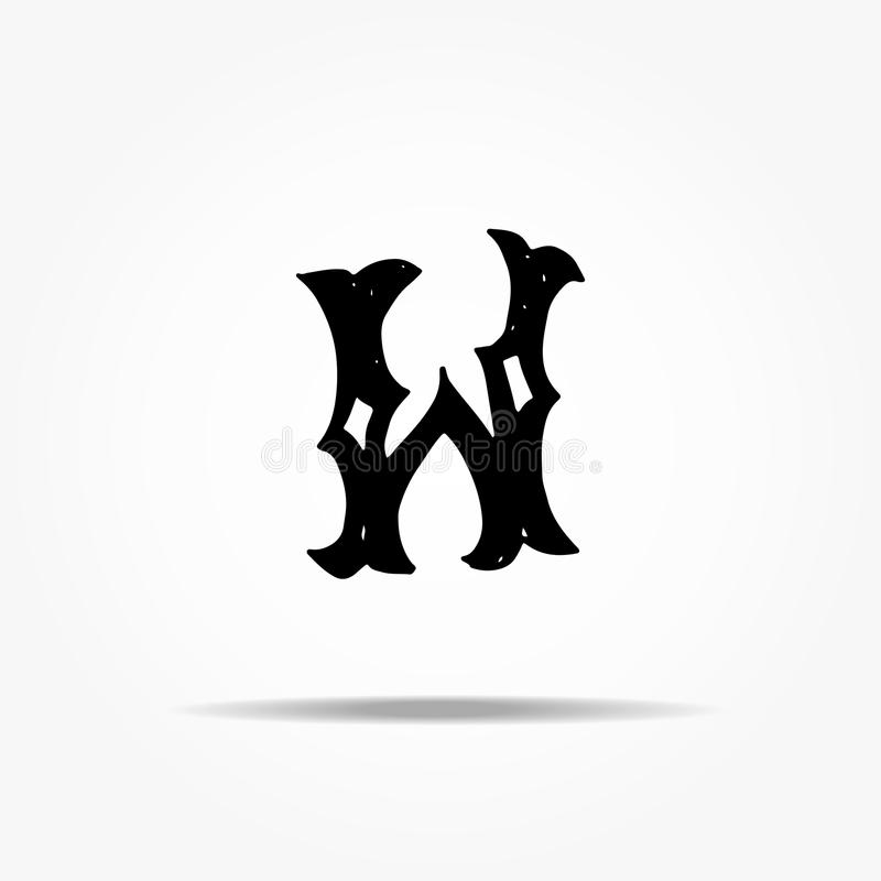 Lettre antique W Lettrage grunge de vecteur occidental gothique tiré par la main de police de vintage Illustration de vecteur illustration de vecteur