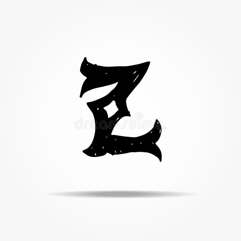 Lettre antique Z Lettrage grunge de vecteur occidental gothique tiré par la main de police de vintage Illustration de vecteur illustration de vecteur