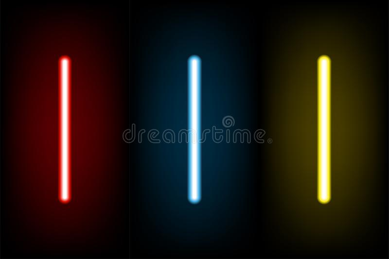 Lettre au néon rouge-clair et bleue, jaune réglée I, illustratio de vecteur illustration de vecteur