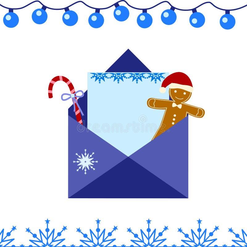 Lettre au p?re no?l Message de b?b? Sucrerie et bonhomme en pain d'épice de Noël sous enveloppe bleue Illustration de vecteur illustration libre de droits