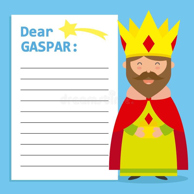 Lettre au Roi Balthazar illustration de vecteur