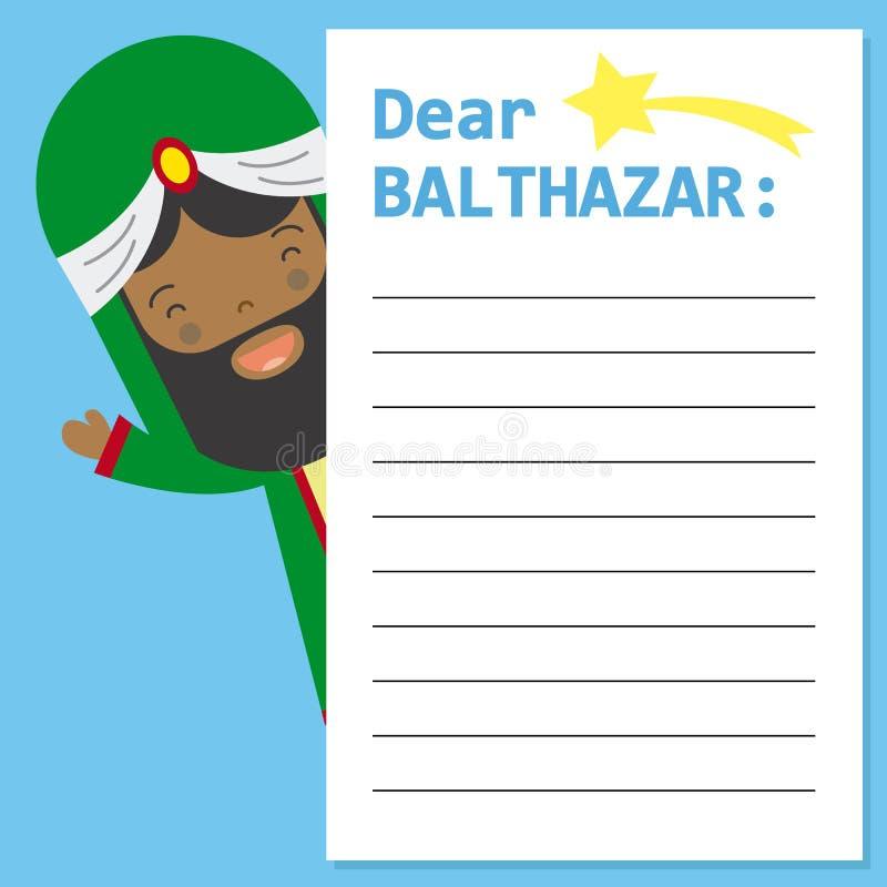 Lettre au Roi Balthazar illustration stock