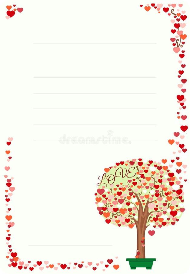 Lettre avec le cadre et l'arbre des coeurs Illustration de vecteur illustration de vecteur