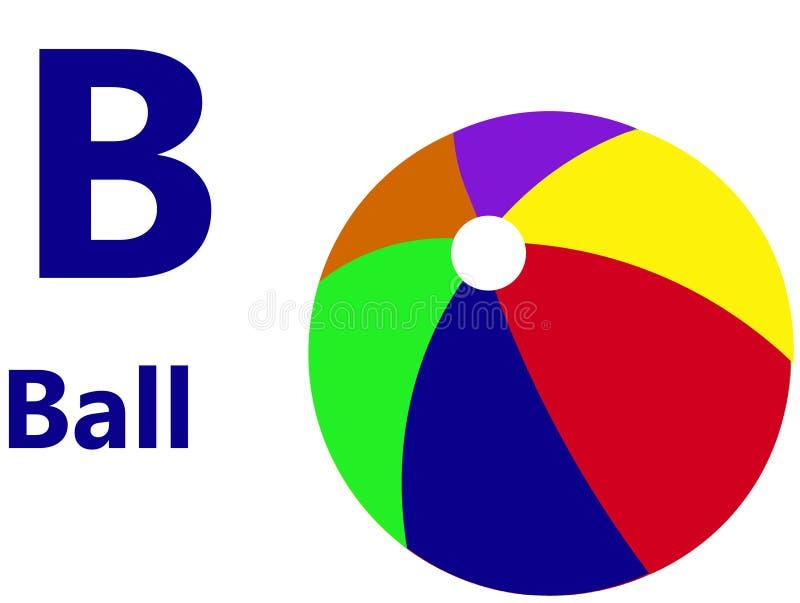 Lettre B d'alphabet anglais pour la boule illustration stock