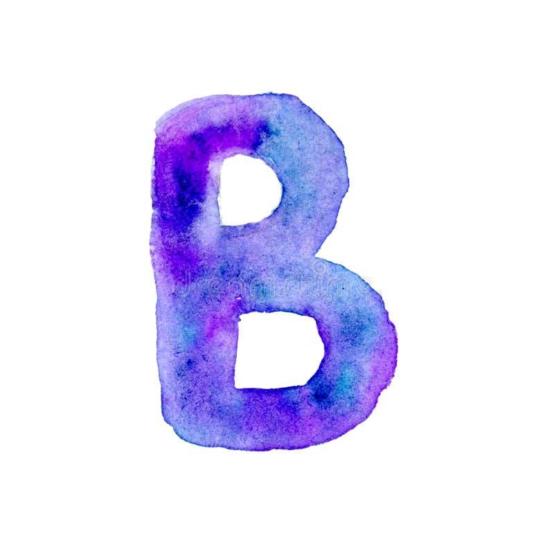 Lettre B d'aquarelle dans bleu et violet illustration libre de droits