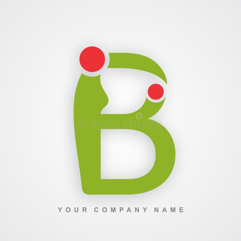 Lettre b de logo de soin de mère illustration stock
