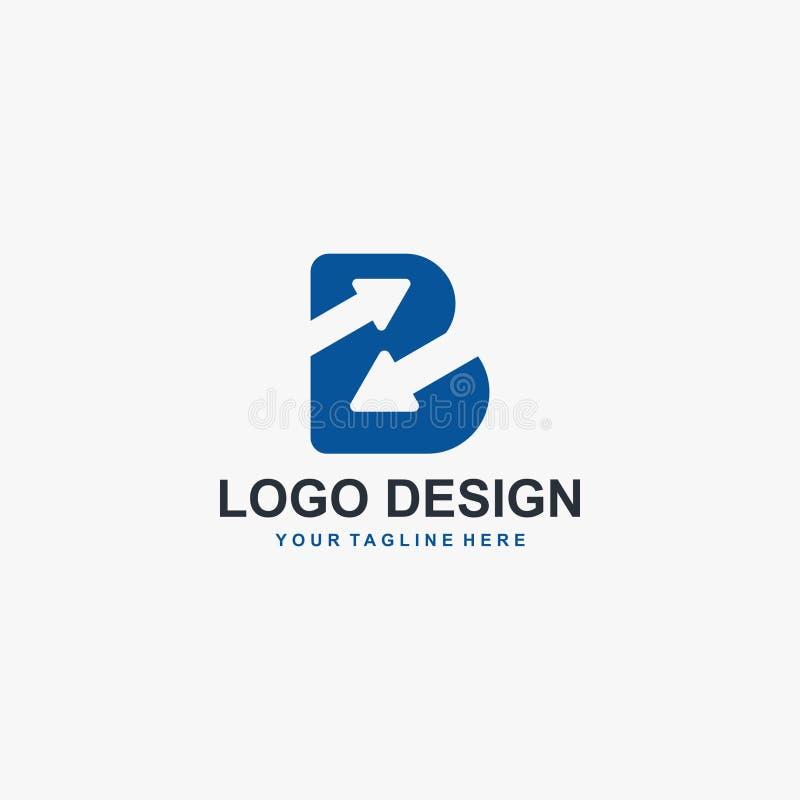 Lettre B et vecteur de conception de logo de flèche Conception abstraite de logo Type logo pour des affaires illustration libre de droits