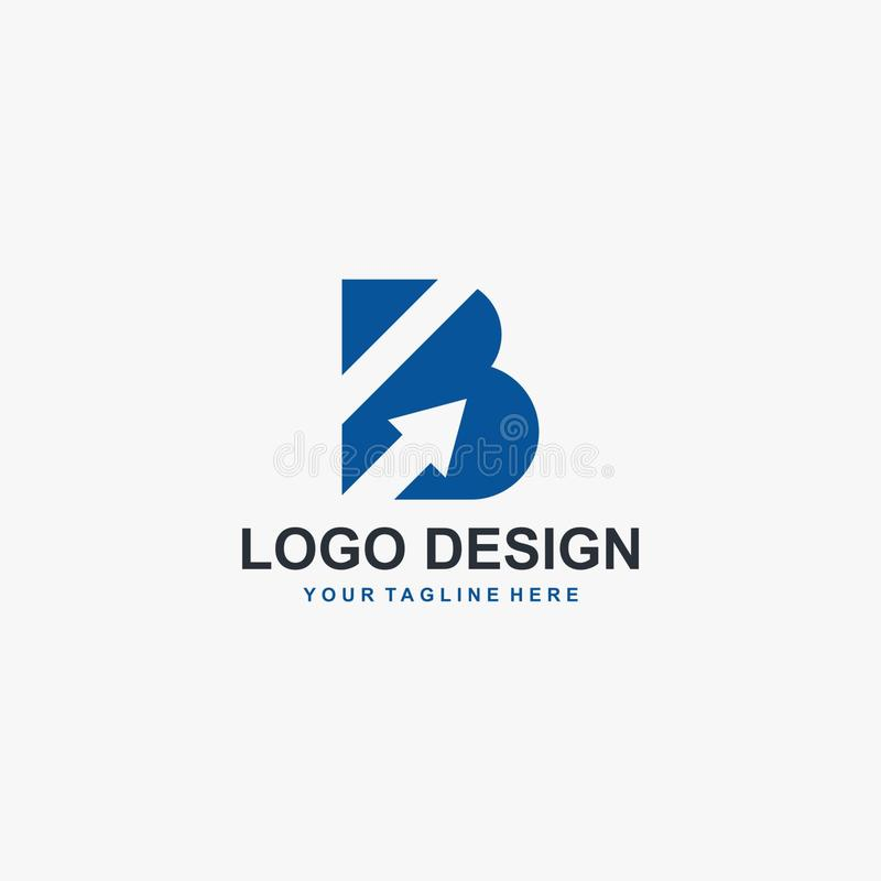 Lettre B et vecteur de conception de logo de flèche Conception abstraite de logo Type logo pour des affaires illustration de vecteur