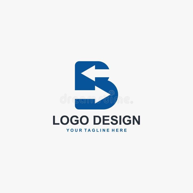 Lettre B et vecteur de conception de logo de flèche Conception abstraite de logo Type logo pour des affaires illustration stock