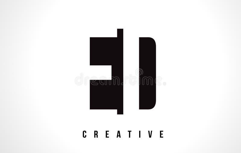 Lettre blanche Logo Design d'ED E D avec la place noire illustration de vecteur