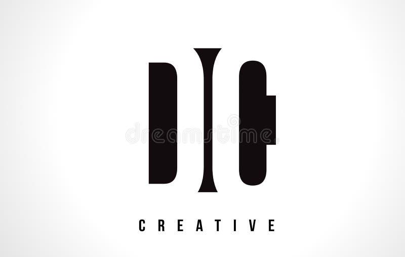 Lettre blanche Logo Design de C.C D C avec la place noire illustration stock
