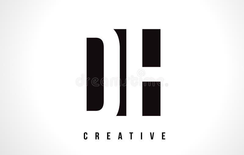 Lettre blanche Logo Design de CAD D H avec la place noire illustration stock